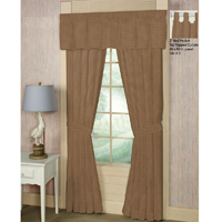 "Pale Brown Window Pane Check Window Curtain 40""W x 84""L"