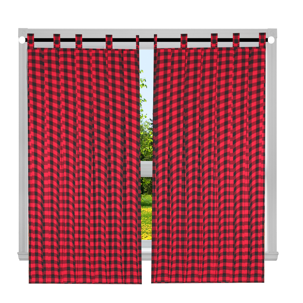 "Red and Black Twill Buffalo Check Window Curtain 40""W x 84""L"