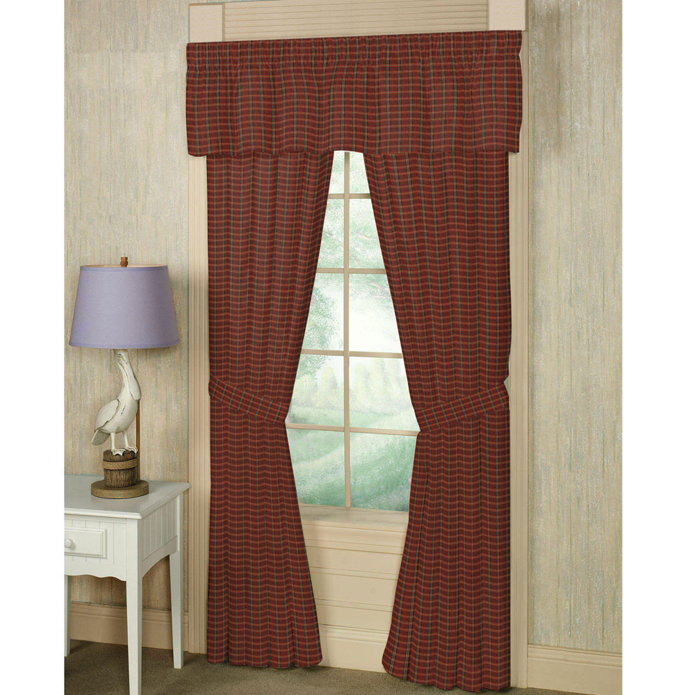 """Rustic Red Large Check Window Curtain 40""""W x 63""""L"""