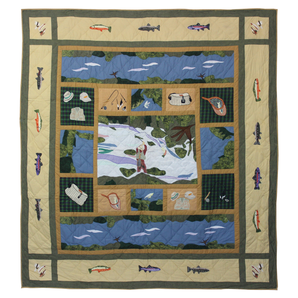 """Fly Fishing Queen Duvet Cover 88""""W x 98""""L"""