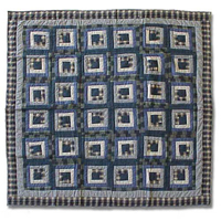 "Blue Log Cabin Twin Duvet Cover 70""W x 88""L"