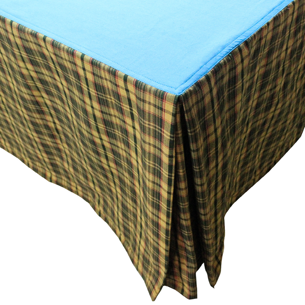 "Golden Brown Plaid Bed Skirt King Size 78""W x 80""L-Drop 18"""