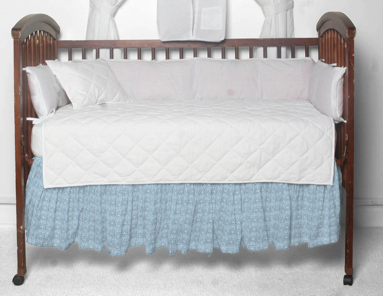 """Off White with Yellow (p449a) Crib Bed Skirt 28"""" x 53""""-Drop-13"""""""