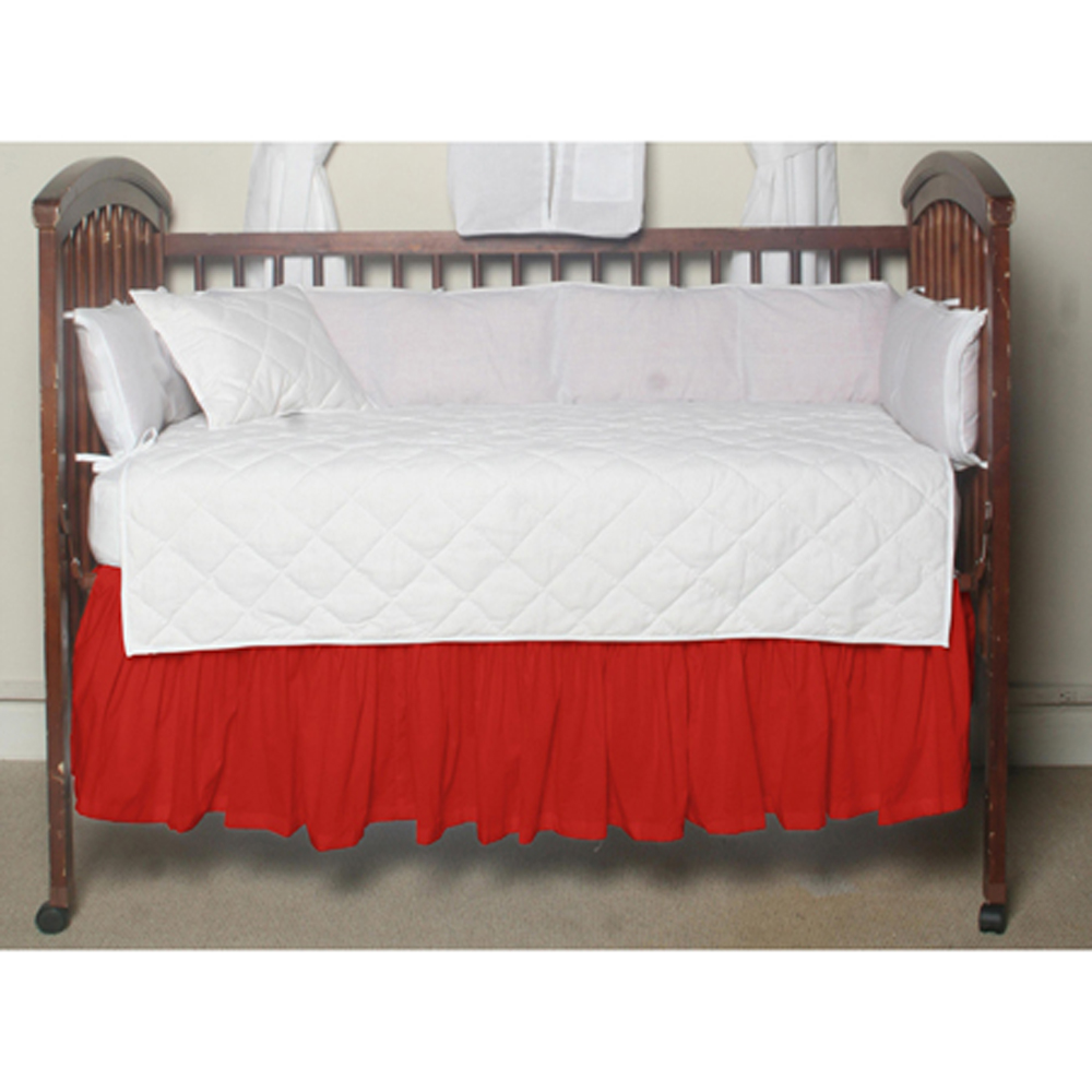 "Bright Red Solid Crib Bed Skirt 28"" x 53""-Drop-13"""
