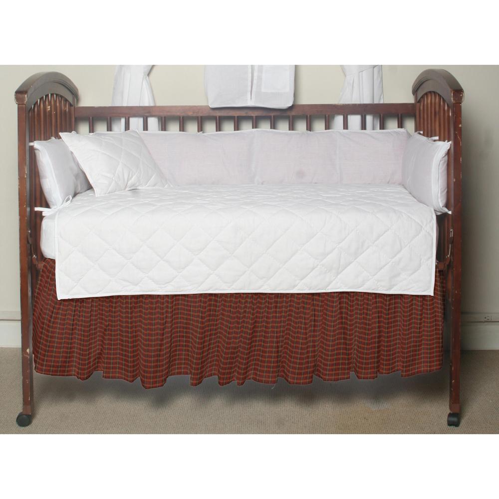 Red-rustic plaid & black lines,fabric dust ruffle crib