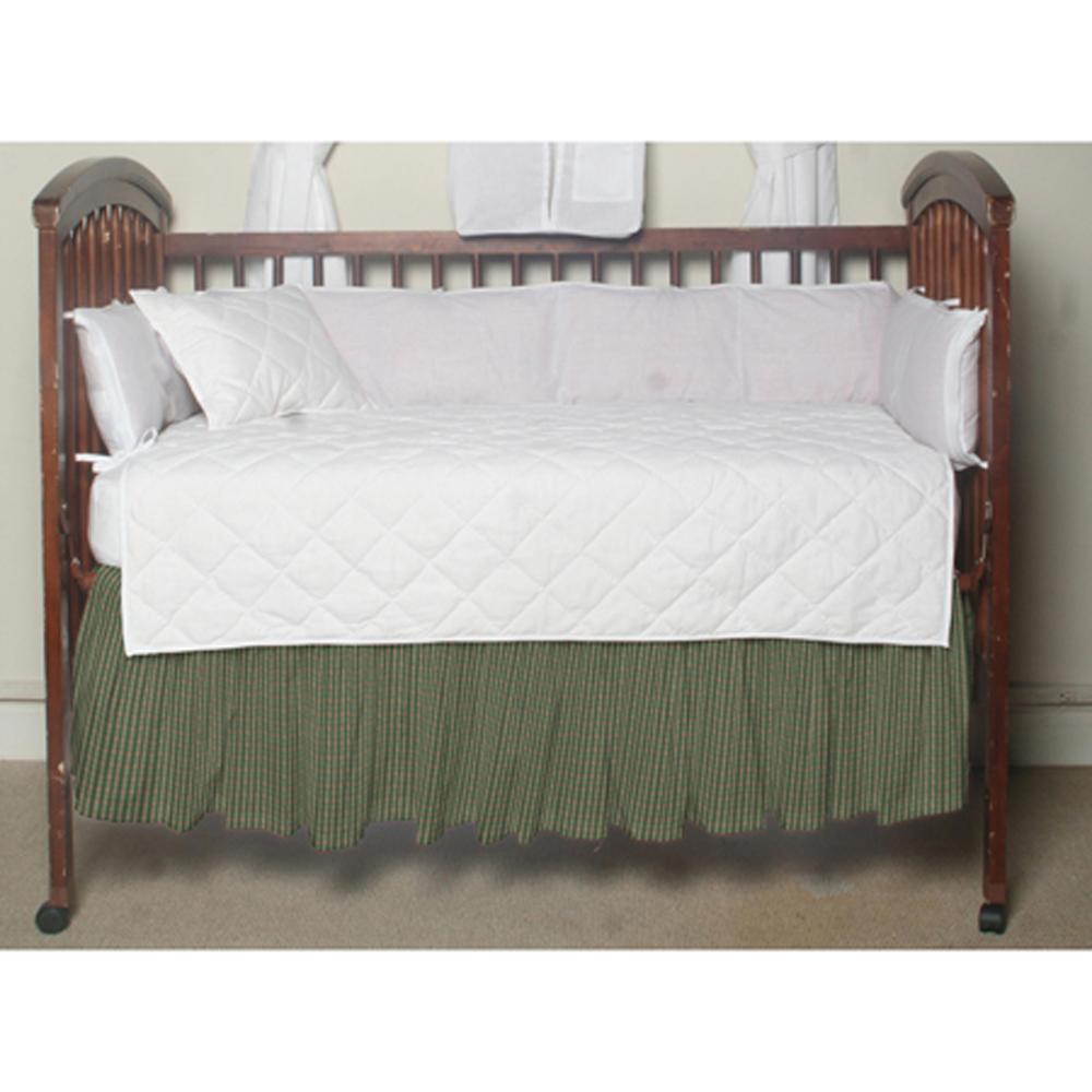 """Hunter Green and Tan Check Crib Bed Skirt 28"""" x 53""""-Drop-13"""""""