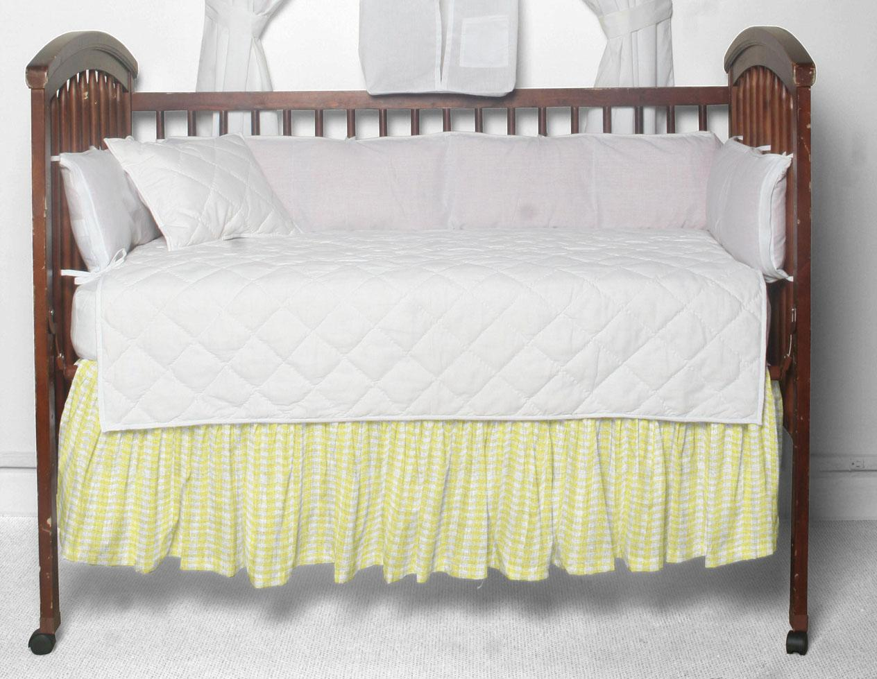 "Pale yellow & white gingham check Crib Bed Skirt 28"" x 53""-Drop-13"""