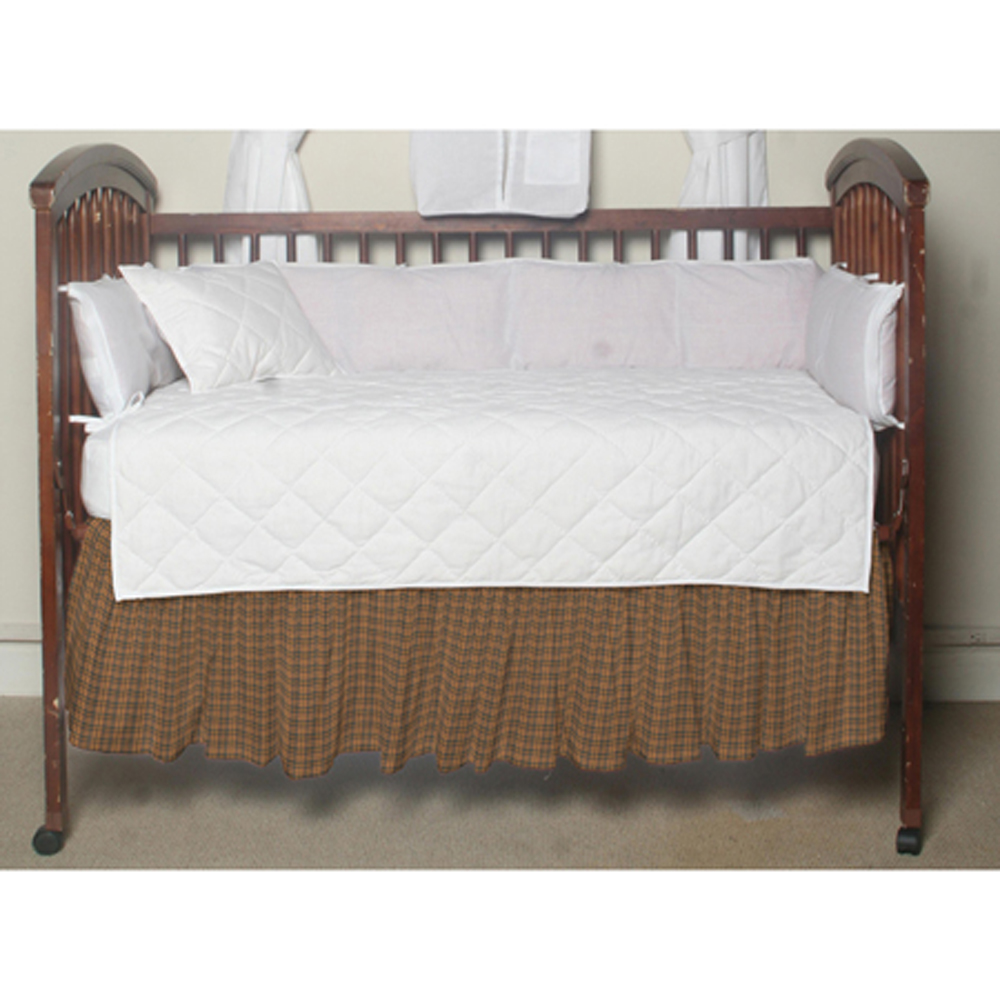 "Gold and Brown Plaid Crib Bed Skirt 28"" x 53""-Drop-13"""