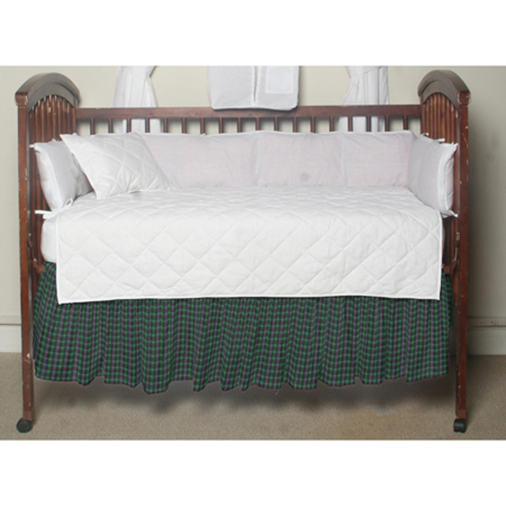 """Green Tartan Plaid Crib Bed Skirt 28"""" x 53""""-Drop-13"""""""