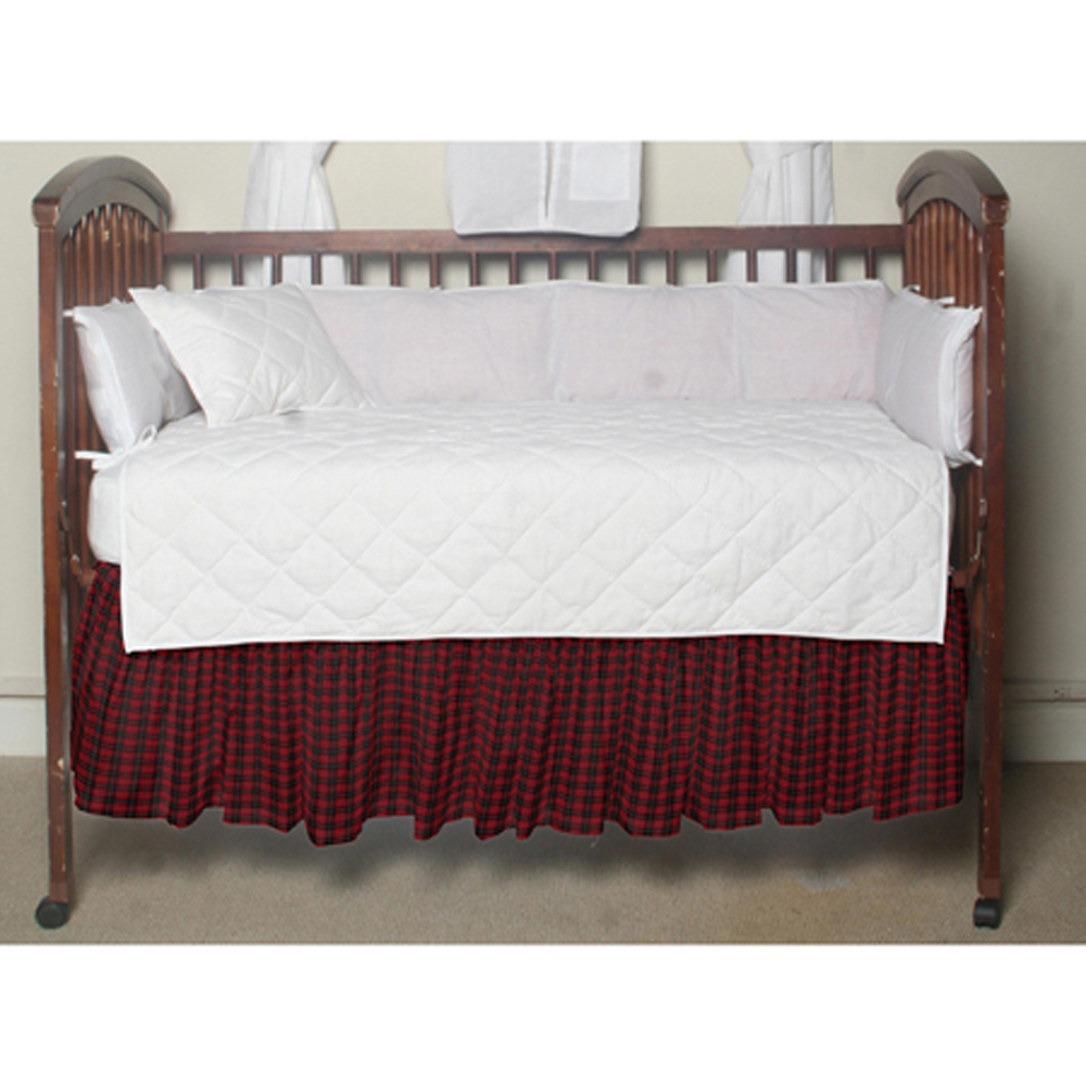"Red and Black Plaid Crib Bed Skirt 28"" x 53""-Drop-13"""