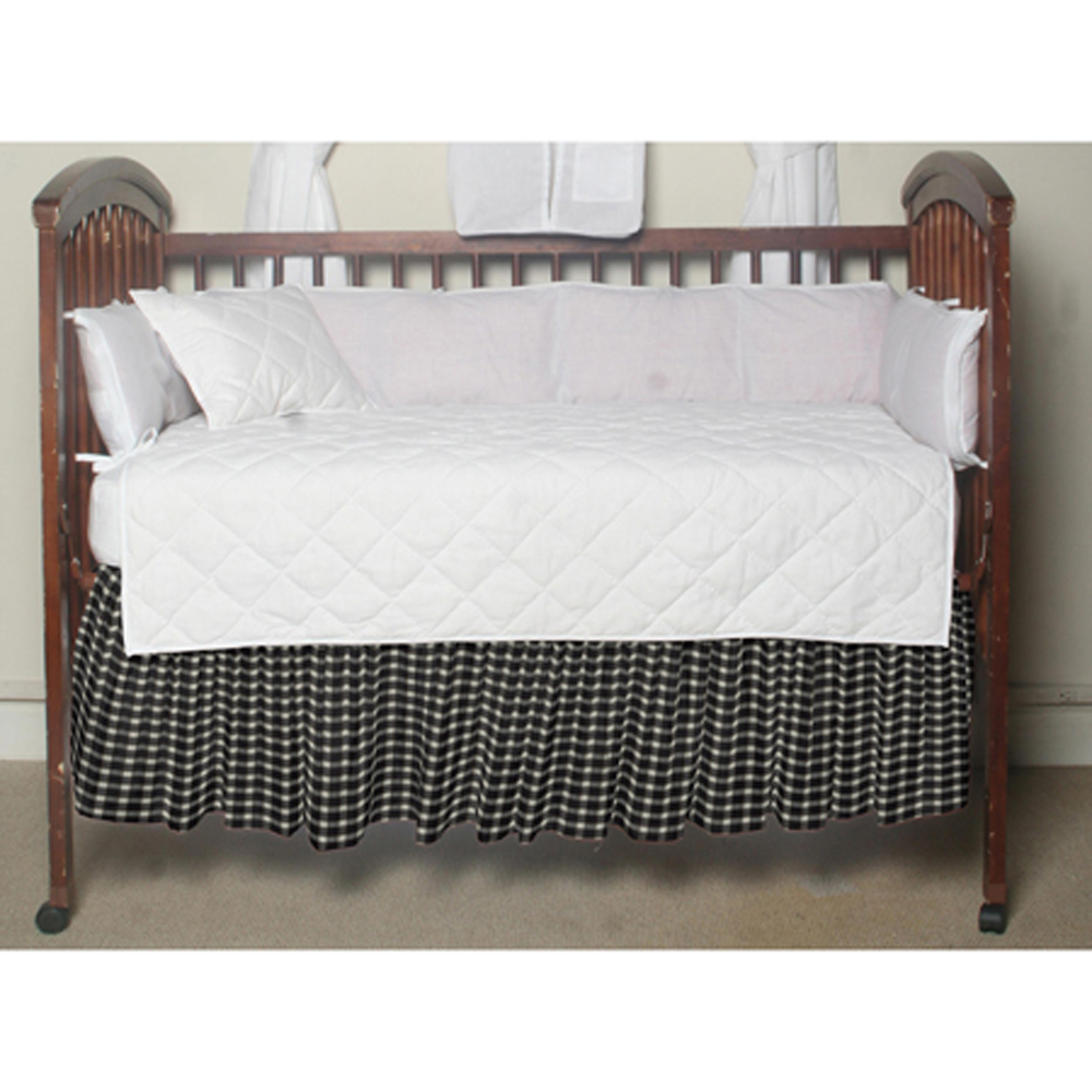 "Black and White Buffalo Check Crib Bed Skirt 28"" x 53""-Drop-13"""