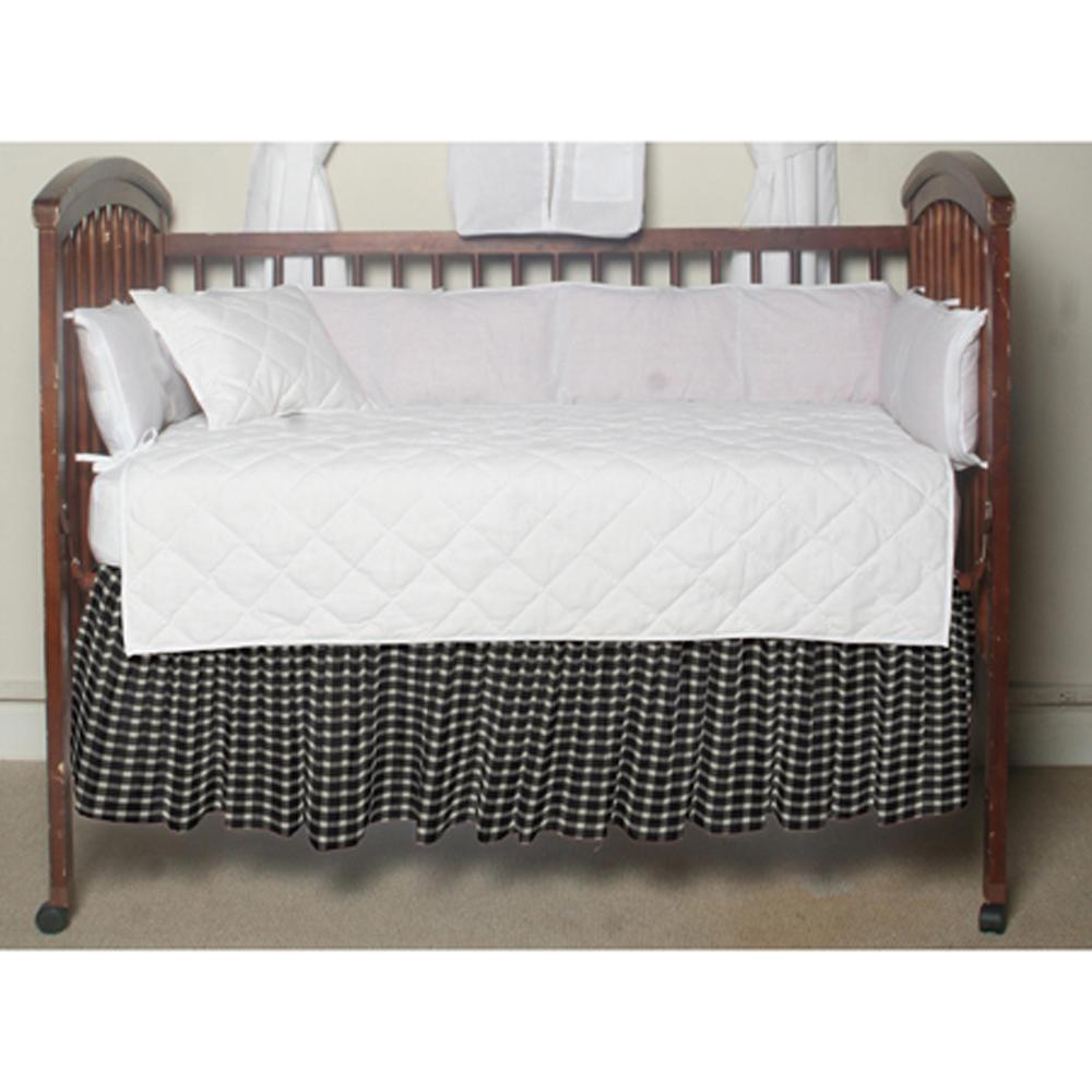 "Black and White Buffalo Check Crib Bed Skirt 28"" x 53""-Drop-13"""