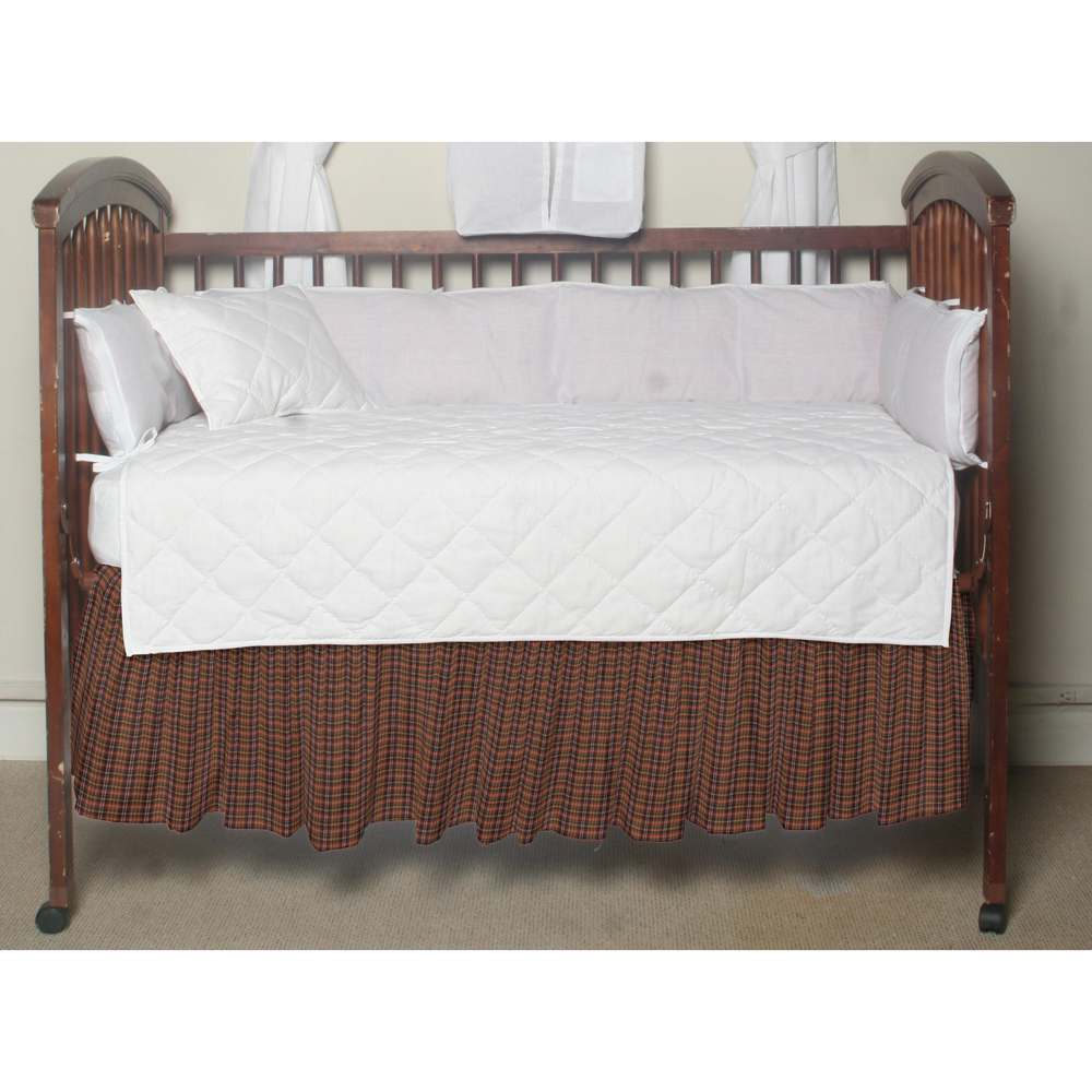 Tan red & black plaid,fabric dust ruffle crib