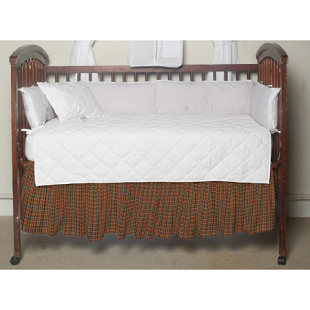 "Green and Warm Brown Plaid Crib Bed Skirt 28"" x 53""-Drop-13"""