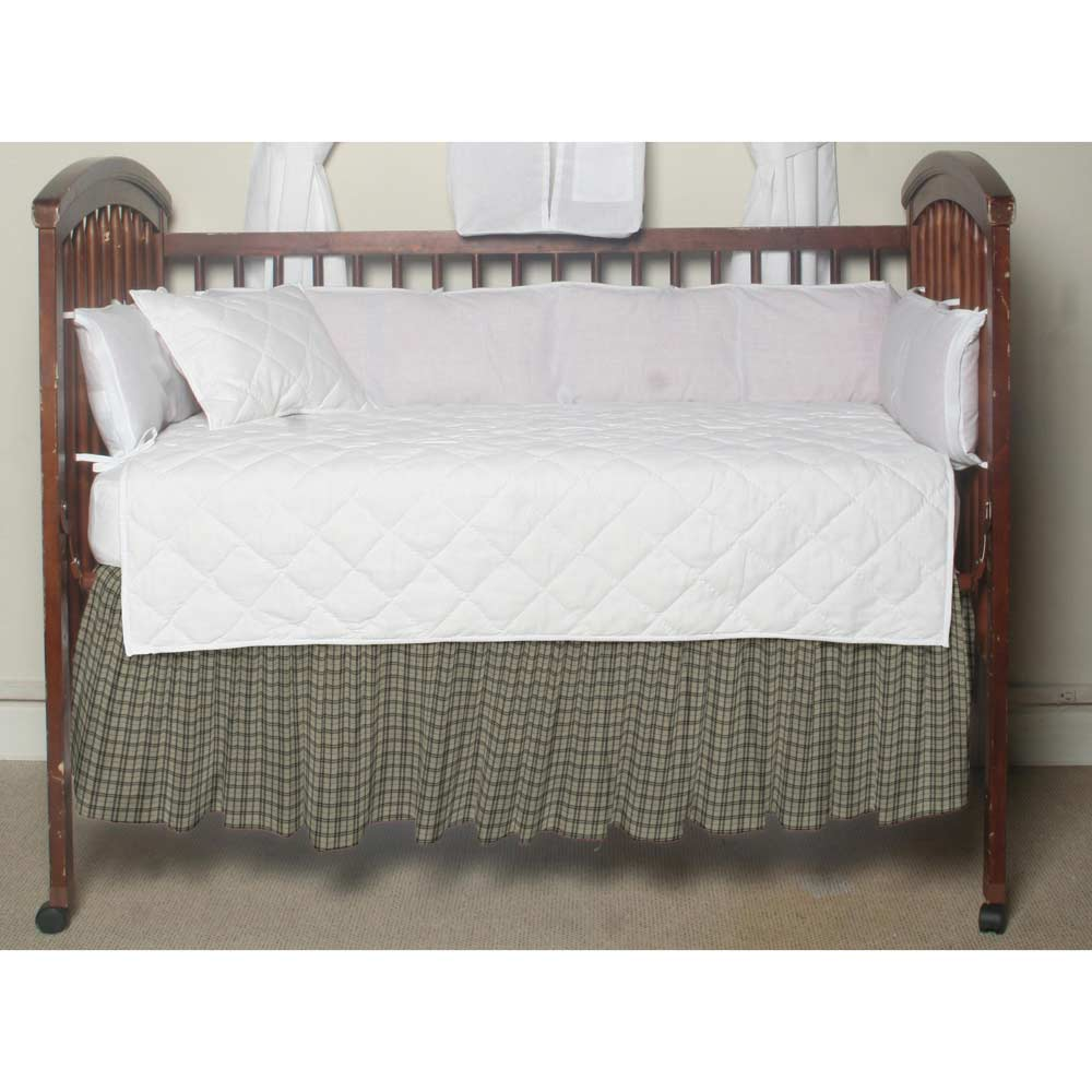 "Cream Plaid with Light Olive Lines Crib Bed Skirt 28"" x 53""-Drop-13"""