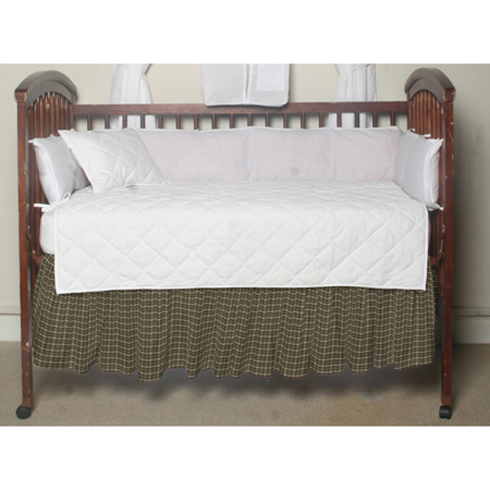 "Olive Green and Ecru Checks Crib Bed Skirt 28"" x 53""-Drop-13"""