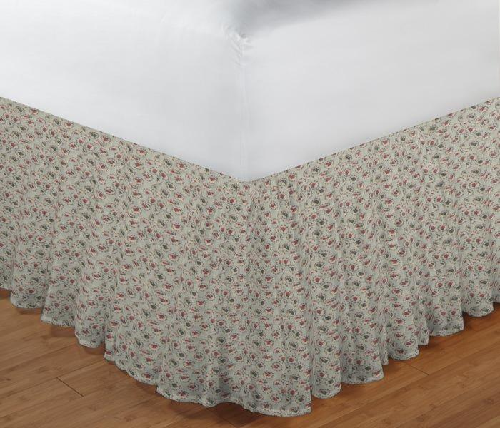 """Roses Print on Beige Bed Skirt King Size 78""""W x 80""""L-Drop 18"""""""