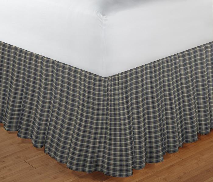 "Blue Black Grey Plaid Bed Skirt King Size 78""W x 80""L-Drop 18"""