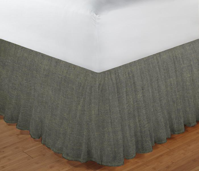 "Dark Spruce Blue Chambray Bed Skirt King Size 78""W x 80""L-Drop 18"""
