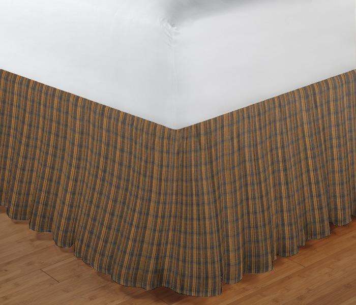 """Dark Brown Plaid Bed Skirt King Size 78""""W x 80""""L-Drop 18"""""""