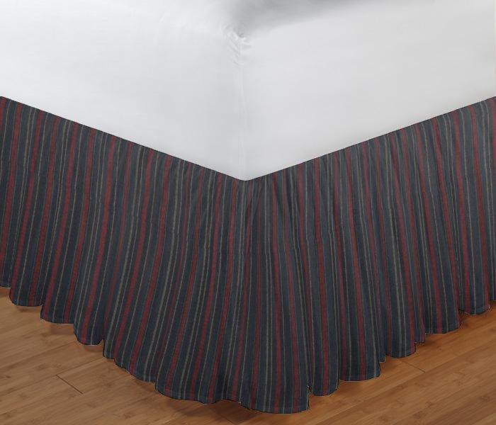 "Black and Maroon Stripe Bed Skirt King Size 78""W x 80""L-Drop 18"""
