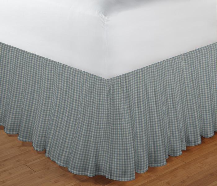 "Light Blue Pin Check Bed Skirt King Size 78""W x 80""L-Drop 18"""