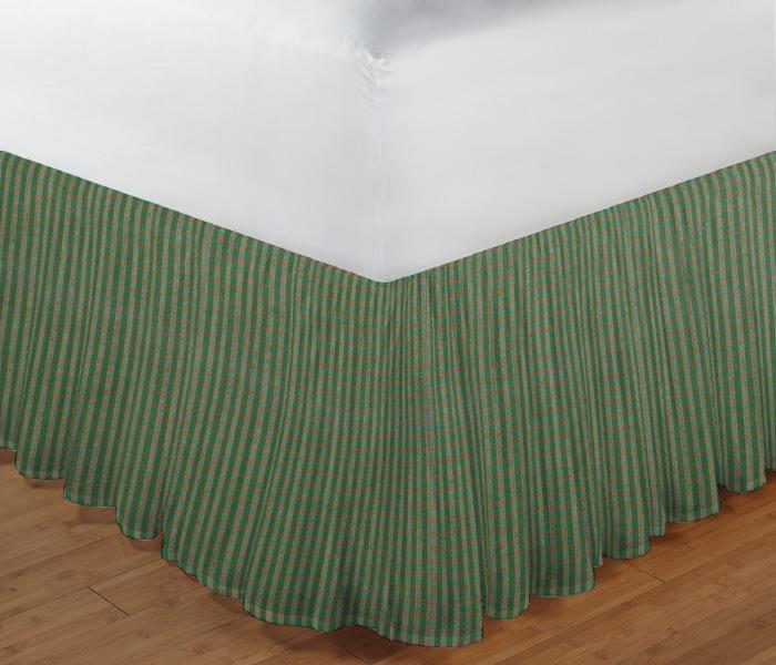 "Hunter Green and Tan Check Bed Skirt King Size 78""W x 80""L-Drop 18"""