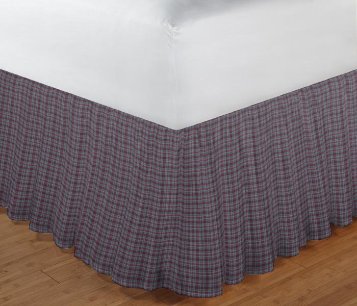 "Burgundy Plaid Bed Skirt King Size 78""W x 80""L-Drop 18"""