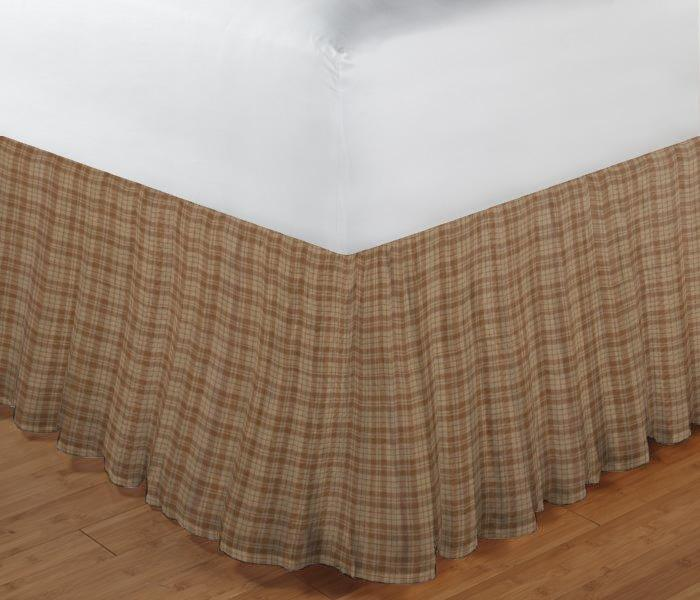 """Brown Check Plaid Bed Skirt King Size 78""""W x 80""""L-Drop 18"""""""