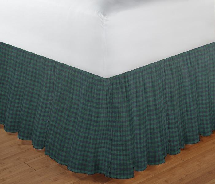 "Green and Blue Gingam Bed Skirt King Size 78""W x 80""L-Drop 18"""