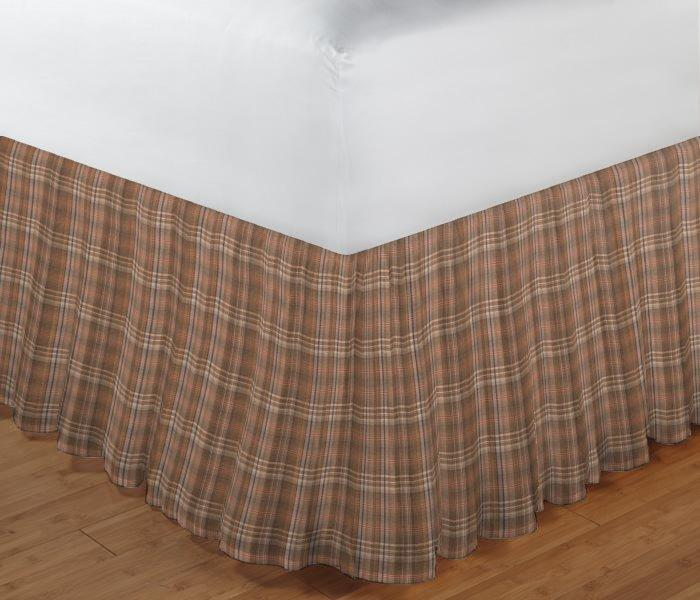 "Dark and Light Brown Plaid Bed Skirt King Size 78""W x 80""L-Drop 18"""