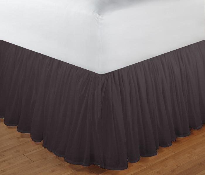 """Black Solid Bed Skirt Queen Size 60""""W x 80""""L-Drop-18"""""""