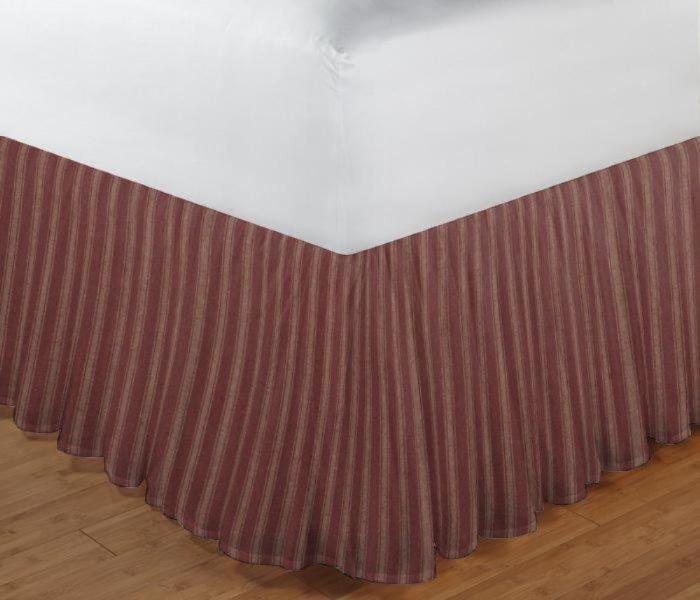 "Tea Dye Stripes with RedBed Skirt Queen Size 60""W x 80""L-Drop-18"""