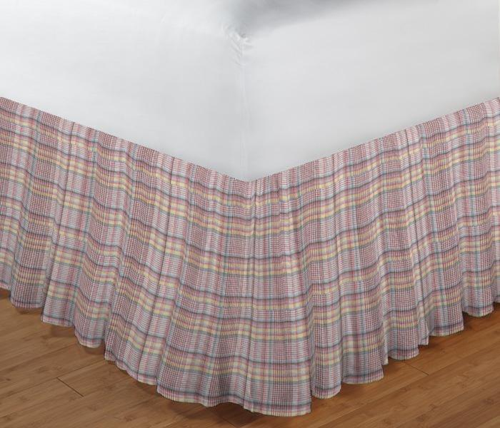 "Red Lines and Off White Plaid Bed Skirt Queen Size 60""W x 80""L-Drop-18"""