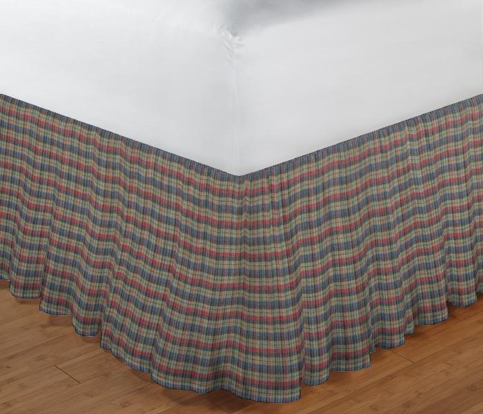 "Tan and Blue Red Plaid Bed Skirt Queen Size 60""W x 80""L-Drop-18"""