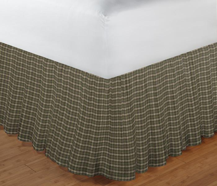 "Olive Green and Ecru Checks Bed Skirt Queen Size 60""W x 80""L-Drop-18"""