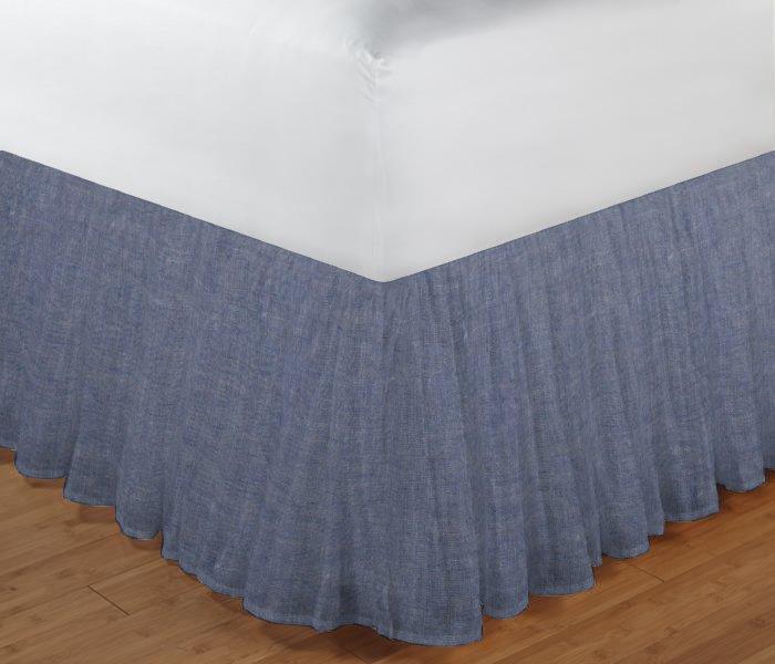 """Light Blue Denim Chambray Bed Skirt Queen Short Drop, Size 60""""W x 80""""L-Drop-13"""""""