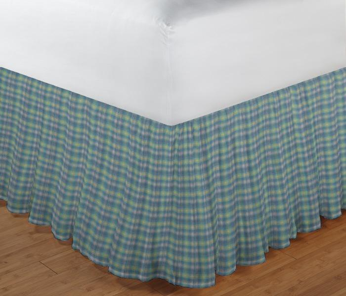 """Pale Green Yellow plaid Bed Skirt Twin Size 39""""W x 76""""L-Drop-18"""""""