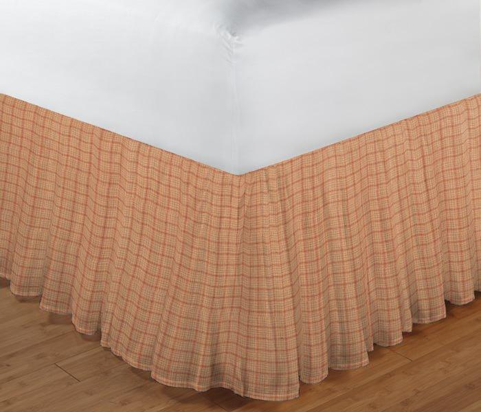 "Golden Rod Plaid Bed Skirt Twin Size 39""W x 76""L-Drop-18"""