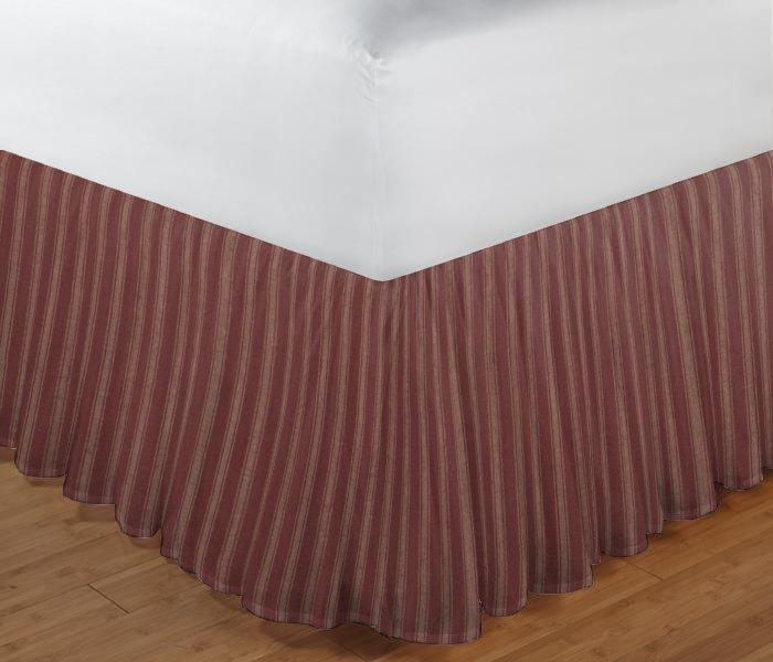 "Tea Dye Stripes with Red Bed Skirt Twin Size 39""W x 76""L-Drop-18"""