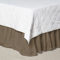 "Olive Green and Tan Stripes Bed Skirt Twin Size 39""W x 76""L-Drop-18"""