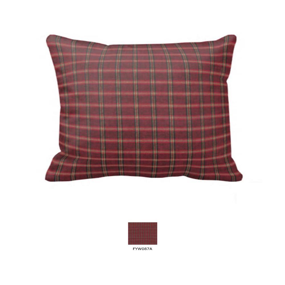 "Rustic Red Large Check Fabric Euro Shams 26""W x 26""L- Ruffled"
