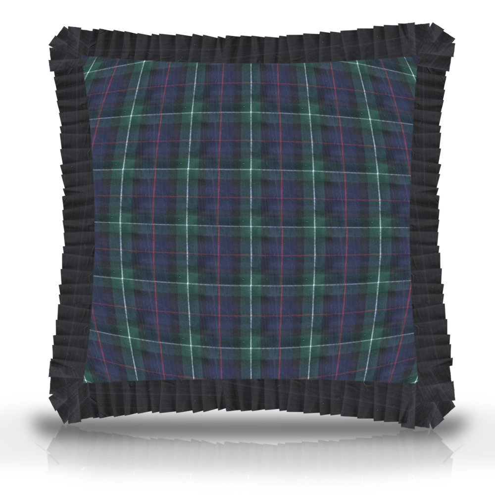 "Tartan Plaid fabric euro shams 26""w x 26""l ruffled"