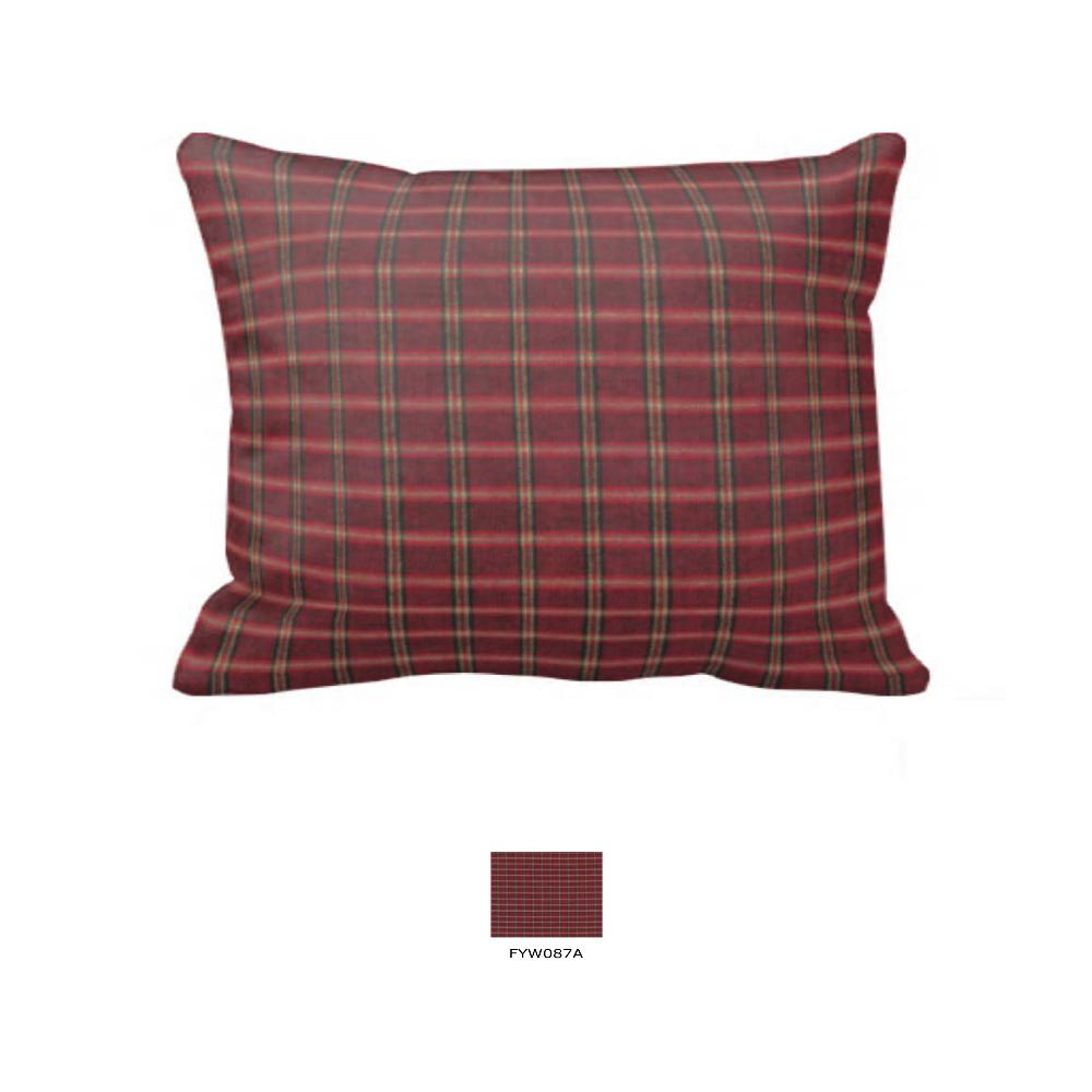 "Rustic Red Large Check Fabric Euro Shams 26""W x 26""L-Flanged"