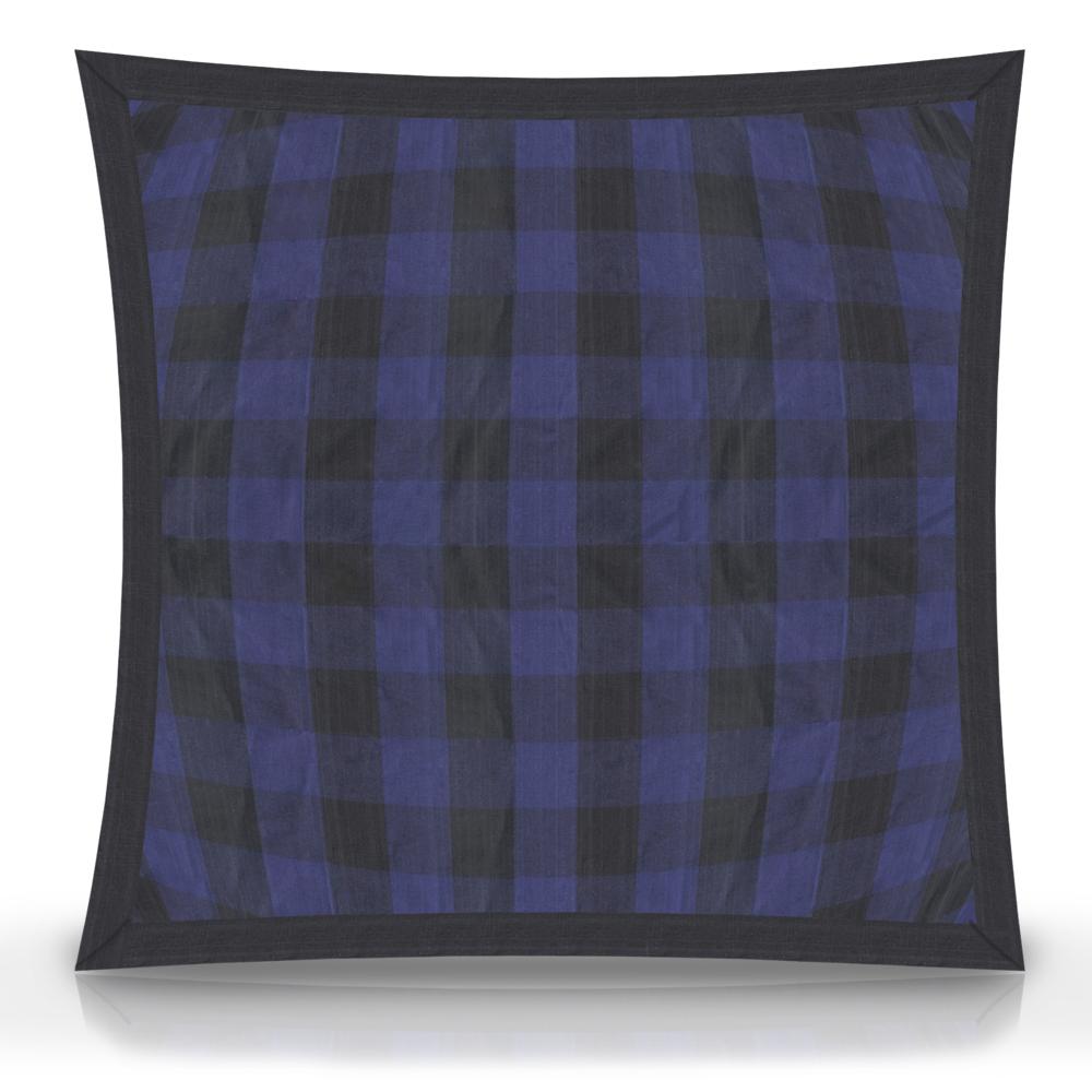 "Blue and Black Twill Buffalo Check fabric euro shams 26""w x 26""l flanged"