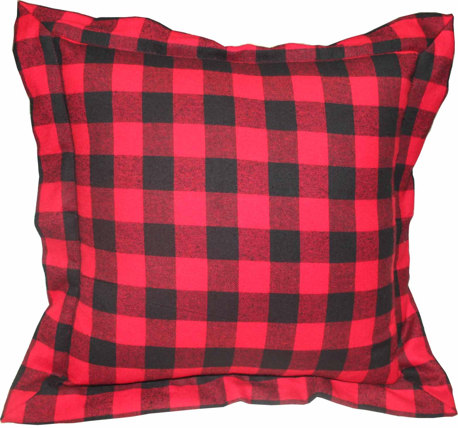 "Red and Black Twill Buffalo Check fabric euro shams 26""w x 26""l flanged"