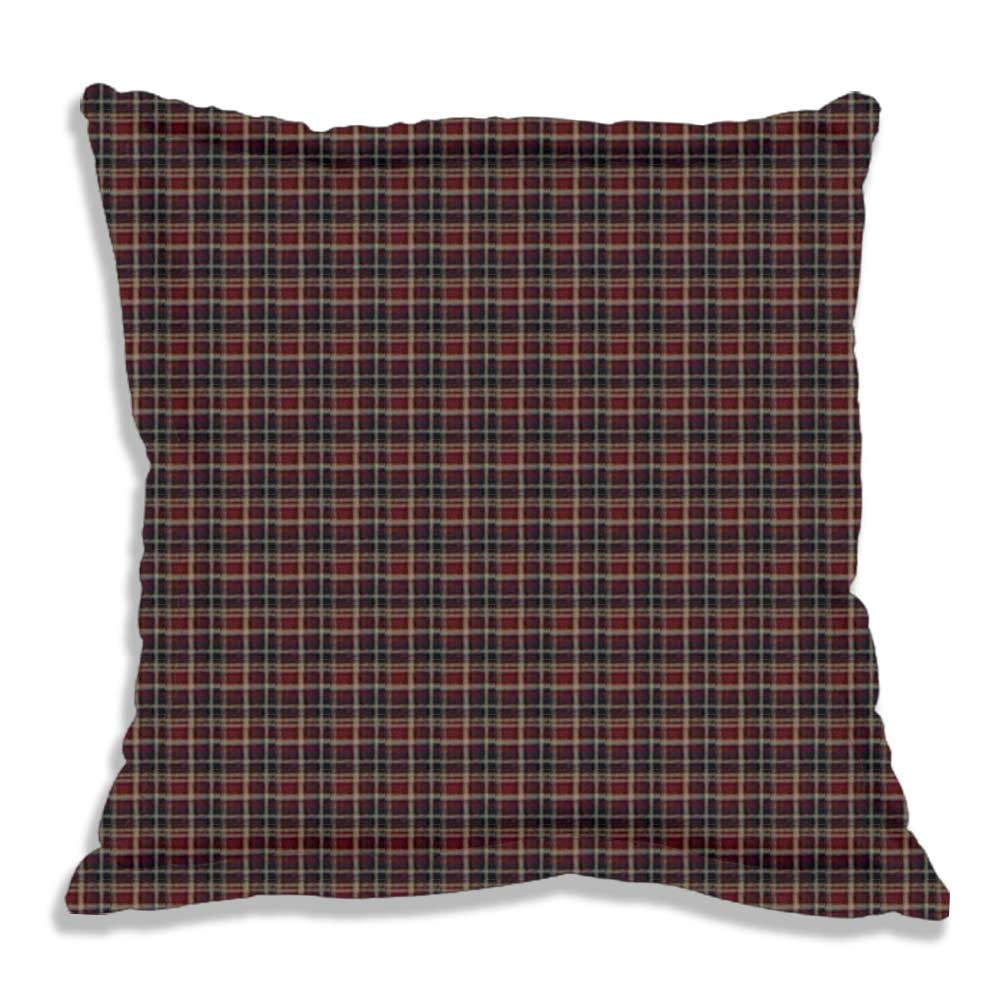 "Maroon and Black Plaid Fabric Euro Shams 26""W x 26""L Regular"