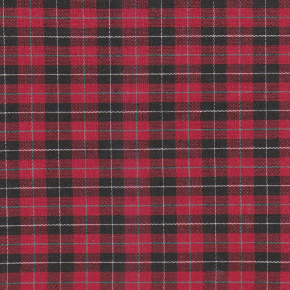 Red & black Tartan Plaid fabrics by the yard