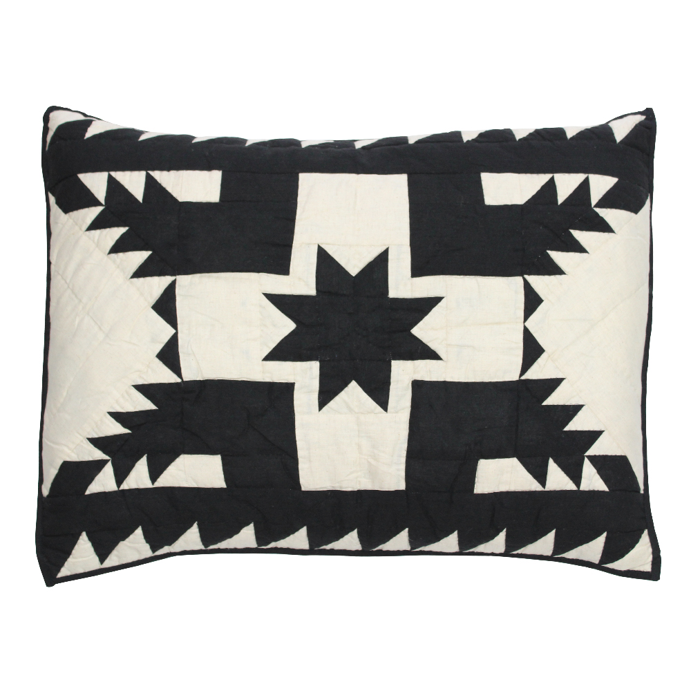 "Coal Feathered Star king sham 31""w x 21""l"