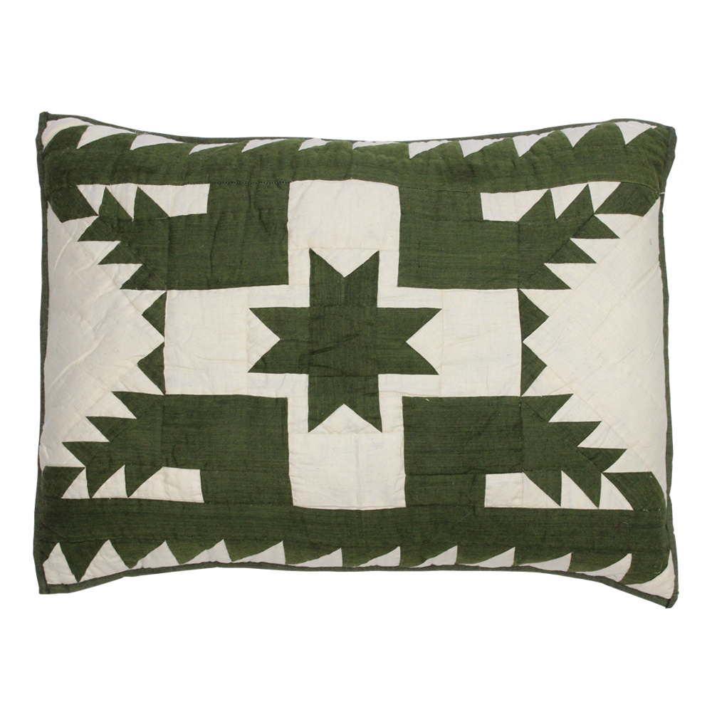 "Green Feathered Star King Sham 31""W x 21""L"